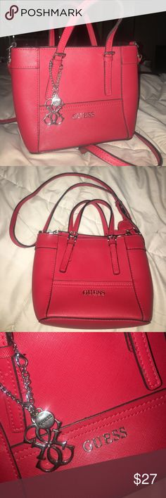 Guess Purse Red leather Guess purse Guess Bags Shoulder Bags