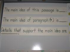 Main Idea Sentence Frames