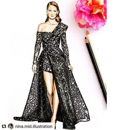 with ・・・ Elie Saab haute couture fall winter . Fashion Illustration Sketches, Fashion Sketches, Dress Design Drawing, Model Sketch, Dress Sketches, Fashion Design Drawings, Elie Saab, Designs To Draw, Couture Fashion