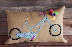 Bicycle Pillow. Bike Pillow. Burlap Pillow. Felt Flowers. Applique Fabric…
