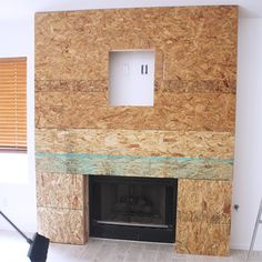 Reclaimed wood fireplace surround chipboard osb framing