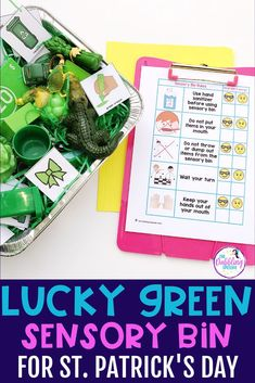If you are strapped on time for planning St. Patrick's Day activities use this lucky green sensory bin activity in your sessions all month long. This lucky green sensory bin is an engaging material for young and older students. Preschool Speech Therapy, Speech Therapy Activities, March Lesson Plans, Green Wrapping Paper, Alphabet Sounds, Lakeshore Learning, Special Education Classroom, Sensory Bins, Speech And Language
