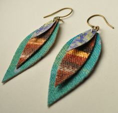 canvas leaf and feather earrings par AMiRAjewelry sur Etsy