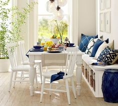 kitchen furniture kitchen table bench with storage and wooden dining chairs ikea in white paint finishes also hand press coffee maker alongside cobalt blue accent pillows