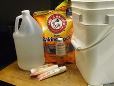 Baking Soda, White Vinegar, Water, Cheap Hair Conditioner (or 2 cups of your favorite fabric softener.)