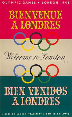 Olympic Games; welcome to London; artist unknown, 1948 London Underground poster, Daily Telegraph