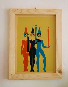 "JUST SAY VINTAGE Collection - Hand painted signs - ""Women with pencils"" von SovietGallery auf Etsy"