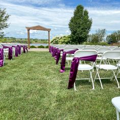 Sunny skies and purple ties 💜 Adding a sash to your ceremony chairs is a quick and simple addition that pulls everything together, and who doesn't love a pop of color out in the sunshine?!