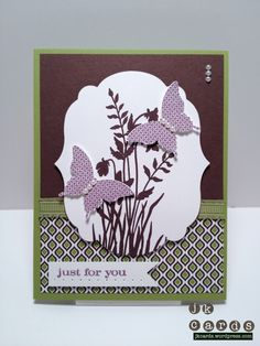 """Stampin' Up!, FMS#40, Just Believe, Papillon Potpourri, Labels Collection Framelits, Elegant Butterfly Punch, 1"""" Square Punch, International Bazaar DSP, Lucky Limeade Ruffled Ribbon, Basic Jewels Pearls"""
