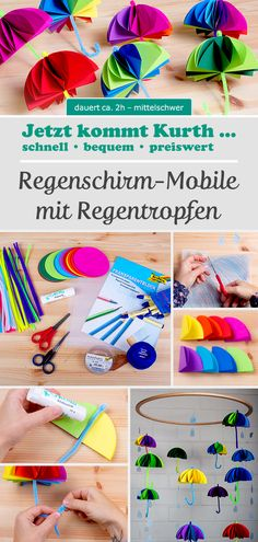 Umbrella Mobile – When the first drops fall from the sky, they bloom … -… Umbrella Mobile – Wenn die ersten Tropfen vom Himmel fallen, blühen sie … -… - Unique Baby Bathing Diy And Crafts, Crafts For Kids, Falling From The Sky, One Drop, Day Work, Kindergarten Activities, Preschool, Good Mood, All The Colors