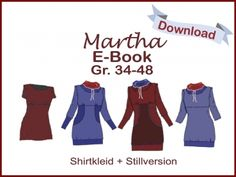 "Fashion Tutorials – E-Book ShirtKleid ""Martha"" inkl. Stillversion – a unique product by Das-Milchmonster on DaWanda Pdf Patterns, Clothing Patterns, Knitting Patterns, Maternity Sewing, Maternity Nursing, Nursing Shirt, Nursing Dress, Sewing Tutorials, Sewing Projects"
