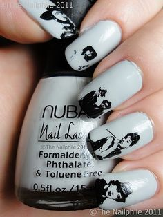 Cool nails...Clint Eastwood, Jim Morrison, The Blues Brothers,  Audrey Hepburn, & Sylvester Stallone (as Rocky Balboa) painted on each individual nail. ♡.