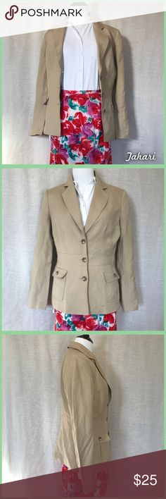 Tahari Blazer Tan button up blazer with 2 front pockets, Tahari by Arthur S. Levine, size 6 in great pre-loved condition with one very faint mark as shown in last photo. •I'm open to fair offers and negotiations on all items!• Tahari Jackets & Coats Blazers
