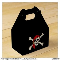 Jolly Roger Pirate Skull Bones Red Bandanna Favor Box Pirate Party Favors, Pirate Party Invitations, Pirate Skull, Pirate Birthday, Jolly Roger, School Themes, Party In A Box, Skull And Bones, Favor Boxes