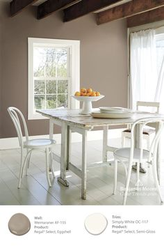 By painting the walls in Benjamin Moore 'Weimaraner AF-155' a level of elegance and sophistication is added to this shabby chic table. #ColorTrends2016