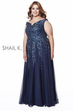 Off The Shoulder fit to Flare Navy Sequin Prom Dress With Slit – Shail K Dresses Sequin Prom Dresses, Plus Size Prom Dresses, Formal Dresses, Sexy Evening Dress, Evening Dresses, Slit Dress, Off The Shoulder, Sequins, Gowns