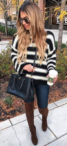 Looks That Will Break Your Winter Fashion Rut fashionable winter outfit idea : stripped sweater + bag + skinnies + brown over knee boots Plaid Fashion, Tomboy Fashion, Green Fashion, Fashion Outfits, Fashion Clothes, Fall Fashion Trends, Winter Fashion, Fashion Ideas, Estilo Preppy
