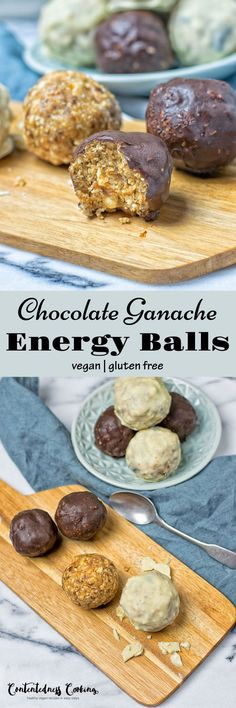 Chocolate Ganache Energy Balls – made with just 4 ingredients and 2 easy steps, vegan, gluten free and so full of versatility. Perfect for a healthy snack before or after an workout, or just a dessert or gift that will surely impress. Best Vegan Desserts, Healthy Vegan Snacks, Vegan Dessert Recipes, Dairy Free Recipes, Vegan Recipes Easy, Sweet Recipes, Snack Recipes, Vegetarian Snacks, Protein Recipes