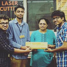 """Team CircuitGyan got the Runners up for their project """"CNC of things"""". It a compact internet controlled CNC machine built up using an old DVD player.  #GenuinoDay #FablabCEPT #AEFest #Fabathon #IoT #GenuinoDayAhmedabad by fablabcept"""