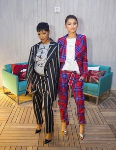 Keke Palmer and Zendaya Coleman are Pin Stripes and Checkered Suits Business Chic