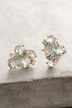 Suzanne Kalan 14k Gold Gemstone Cluster Earrings