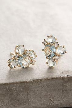 Suzanne Kalan 14k Gold Gemstone Cluster Earrings