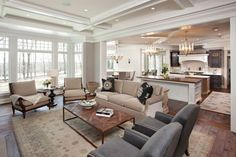 Interesting to consider a sofa and chairs in the great room instead of a sectional. Allows more flexibility over time.