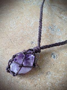 Amethyst Raw Crystal Hemp Necklace