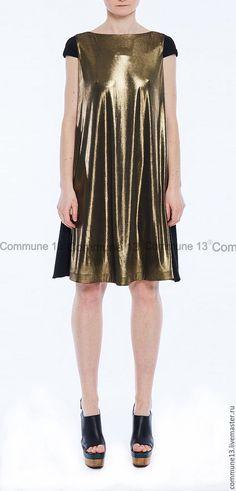 Купить Золотое платье - золото, складки, медь, ВЕЧЕРИНКА, блеск, выпускной, золотой, полиэстер, хлопок