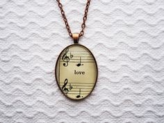 Love Antique Sheet Music from 1906 Pendant Necklace by KriotoLee, $28.00