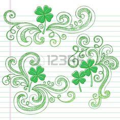 St Patricks Day Four Leaf Clover Sketchy Doodle Shamrocks Back to School Style Notebook Doodles Illu Stock Vector