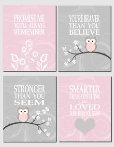 Promise Me You'll Always Remember - Your are one smart cookie - Pink and Gray Nursery Art Owl Nursery Baby Girl Wall by vtdesigns