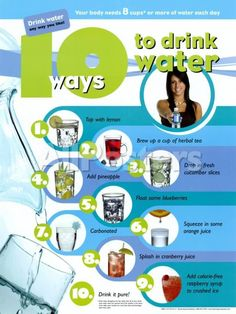 Health Nutrition for Kids: USDA MyPlate, Child Nutrition, Nutrition Education, Kids Health EducationTop 10 Creative Ways to Drink More Water: 10 Ways to Drink Water Poster Healthy Drinks, Get Healthy, Healthy Tips, Healthy Food, Healthy Facts, Healthy Exercise, Diet Exercise, Healthy Dishes, Detox Drinks