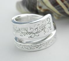 Antique Silver Spoon Ring, Silverware Jewelry, Silver Lace 1968. $24.50, via Etsy.