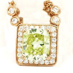 "18k Rose Gold SI1,4.62tcw Fancy Yellow Green Diamond w/ Diamonds Necklace 16"" #LeonDiamond #Pendant"