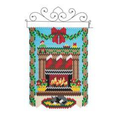Herrschners® Waiting for Santa Mini Beads Beaded Banner Kit Christmas Sewing, Christmas Diy, Diy Christmas Earrings, Pony Bead Crafts, Beaded Banners, Bead Kits, Pony Beads, Loom Weaving, Hama Beads