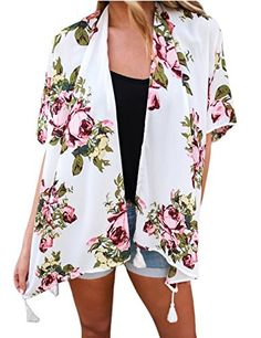 c89ffea33b08d The shopping aisle Women's Vintage Boho Floral Tassel Kimono Cardigan Loose  Cover up Blouse Top