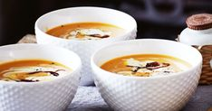 Pumpkin soup gets a sweet makeover with the addition of caramelised onions.