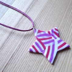 Raspberry Shimmer Star FIMO Polymer Clay Pendant £7.00