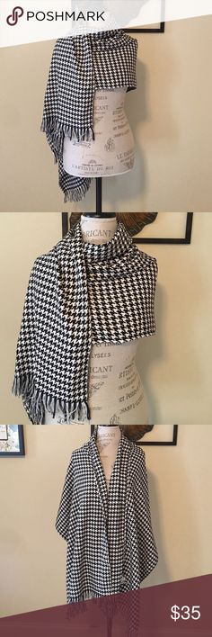 Houndstooth Scarf Long /and pretty wide black & white houndstooth print scarf. One size - by Joan Rivers. Wear it as a wrap, or tie it as a scarf...there are many ways to wrap this to make different looks. joan Rivers Accessories Scarves & Wraps