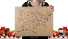 50 States  USA  Abbreviated States  Outlined by RasurePrintsLLC