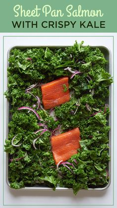 Sheet Pan Salmon with Crispy Kale 12 Date Night Dinners That Are Also Healthy Kale Recipes, Salmon Recipes, Fish Recipes, Seafood Recipes, Cooking Recipes, Recipies, Budget Cooking, Chicken Recipes, Savoury Recipes