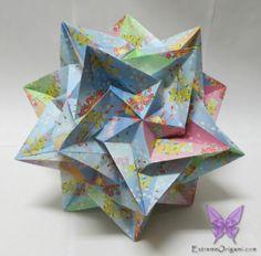 Kusudama Paradigma. 30 Pieces, no glue or tape. Made by Sarah. Extreme Origami.