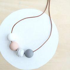 wabi sabi no. 75  - modern handmade polymer clay necklace