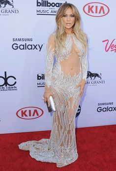 On the 2015 Billboard Music Awards red carpet, Jennifer revealed her bellybutton in a sheer Charbel Zoe Couture gown.