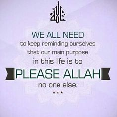 .we all need to keep reminding ourselves that our main purpose in this life is to PLEASE ALLAH (swt) - no one else!