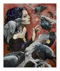 "Items similar to NIXI Theodora PIXI fine art giclee print ""The Morrigan"" on Etsy Celtic Goddess, Goddess Art, Tarot, Raven Art, Eclectic Witch, Rabe, Wolf, Celtic Art, Dark Art"