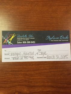 Michelle's Salon Gift Pass--Valued at $35.00-$38.00--Bidding starts at $5.00
