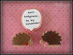 Valentine's Day Hedgehog Cookie by Melissa Joy Cookies