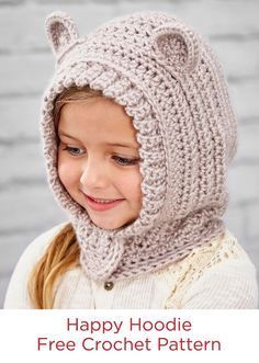 Excellent Image of Crochet Hood Pattern Crochet Hood Pattern Happy Hoodie Free Crochet Pattern In Red Heart Yarns Kids Will Free Form Crochet, Crochet Mittens Free Pattern, Crochet Headband Pattern, Crochet Kids Hats, Crochet Scarves, Diy Crochet, Crochet Clothes, Knitting Patterns, Cowl Patterns